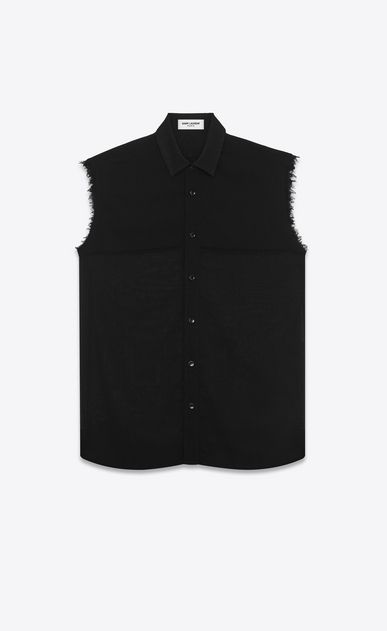 SAINT LAURENT Casual Shirts U sleeveless shirt in black virgin wool voile a_V4