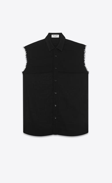 SAINT LAURENT Casual Shirts U sleeveless semi-sheer shirt in black virgin wool voile v4