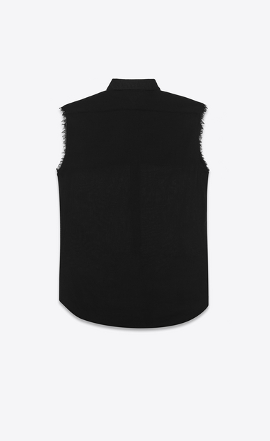 SAINT LAURENT Casual Shirts U sleeveless semi-sheer shirt in black virgin wool voile b_V4