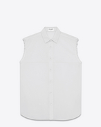 White Cotton Voile Sleeveless Shirt