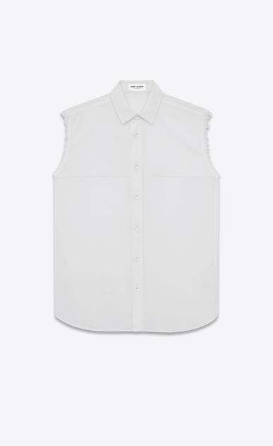 SAINT LAURENT Casual Shirts U White Cotton Voile Sleeveless Shirt a_V4