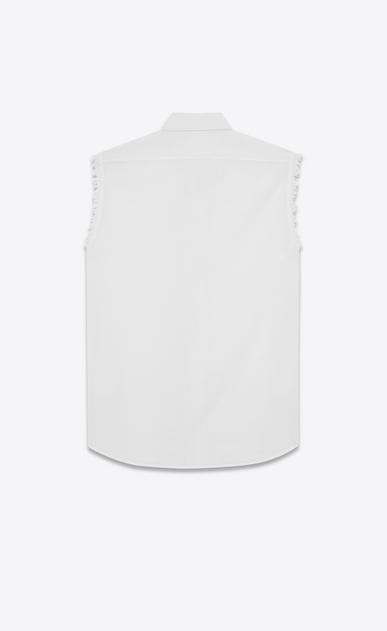 SAINT LAURENT Casual Shirts U White Cotton Voile Sleeveless Shirt b_V4