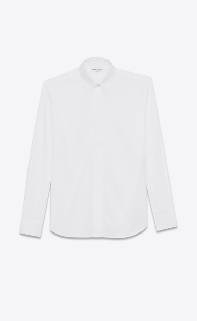 SAINT LAURENT Classic Shirts Man yves collar shirt in white cotton poplin a_V4