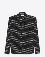 SAINT LAURENT Classic Shirts U Black and White Lipstick Dot YVES Collar Shirt f