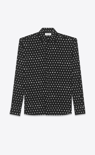 SAINT LAURENT Classic Shirts U yves collar shirt in black and white lipstick dot printed twill viscose a_V4