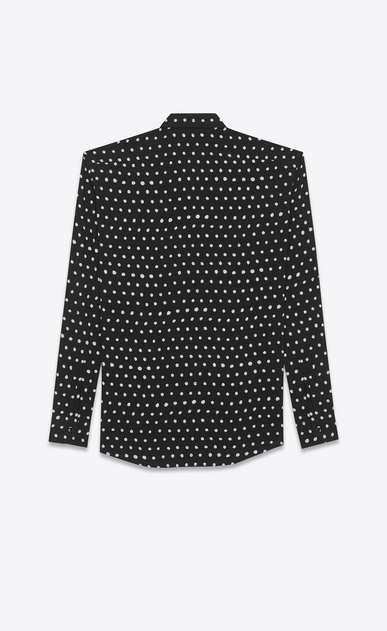 SAINT LAURENT Classic Shirts U yves collar shirt in black and white lipstick dot printed twill viscose b_V4