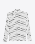SAINT LAURENT Camicie Classiche U White and Black Lipstick Dot YVES Collar Shirt f