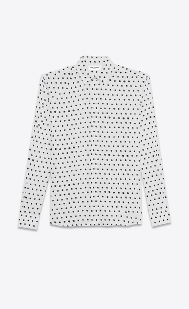 SAINT LAURENT Classic Shirts U yves collar shirt in white and black lipstick dot printed twill viscose v4