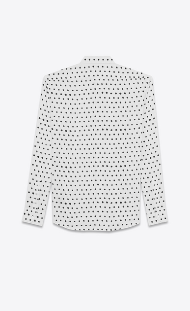 SAINT LAURENT Classic Shirts U yves collar shirt in white and black lipstick dot printed twill viscose b_V4