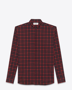 SAINT LAURENT Casual Shirts U Red and Black Brushstroke Plaid REPLIÉ Collar Shirt f