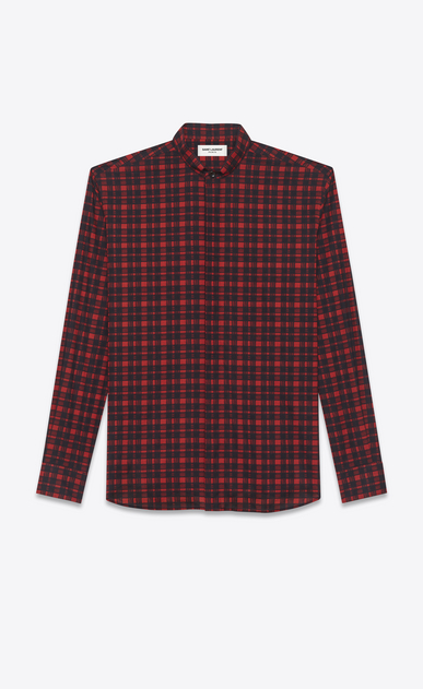 SAINT LAURENT Casual Shirts U replié collar shirt in red and black brushstroke cotton voile plaid a_V4