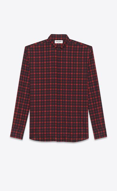 SAINT LAURENT Casual Shirts U replié collar shirt in red and black brushstroke cotton voile plaid a_V4