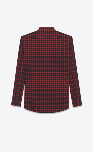 SAINT LAURENT Casual Shirts U replié collar shirt in red and black brushstroke cotton voile plaid b_V4