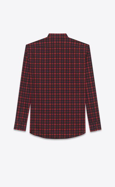 SAINT LAURENT Casual Shirts U replié collar shirt in red and black brushstroke cotton voile plaid b_V4