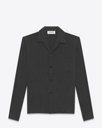 SAINT LAURENT Camicie Casual U camicia leisure nera in seta a stampa polka dot f