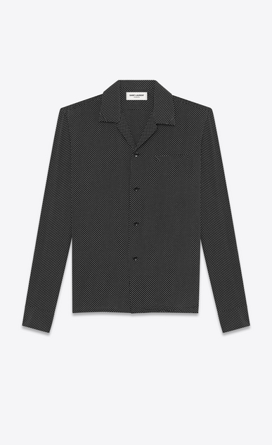 SAINT LAURENT Camicie Casual U camicia leisure nera in seta a stampa polka dot a_V4