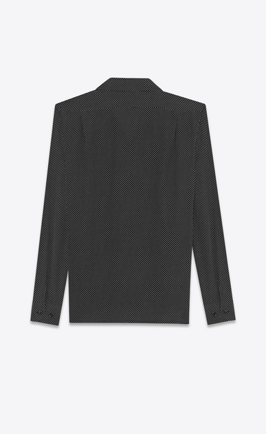 SAINT LAURENT Camicie Casual U camicia leisure nera in seta a stampa polka dot b_V4