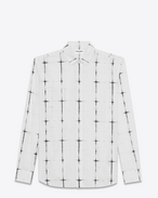 SAINT LAURENT Casual Shirts U White and Black Tie Dye Plaid YVES Collar Shirt f