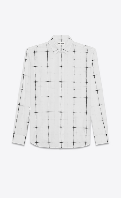 SAINT LAURENT Casual Shirts U yves collar shirt in white and black tie dye cotton voile plaid a_V4