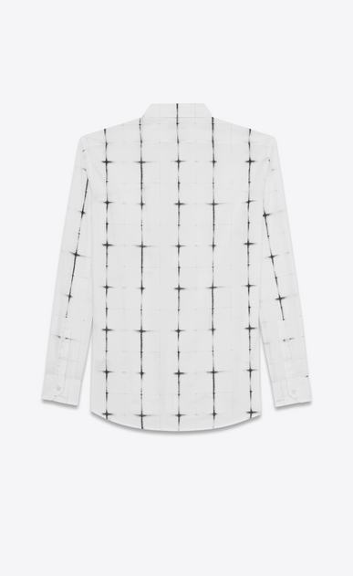 SAINT LAURENT Casual Shirts U yves collar shirt in white and black tie dye cotton voile plaid b_V4