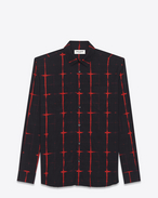 SAINT LAURENT Casual Shirts U Signature Black and Red Tie Dye Plaid YVES Collar Shirt f