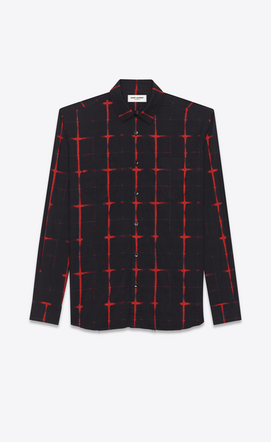 SAINT LAURENT Casual Shirts U signature yves collar shirt in black and red tie dye cotton voile plaid a_V4