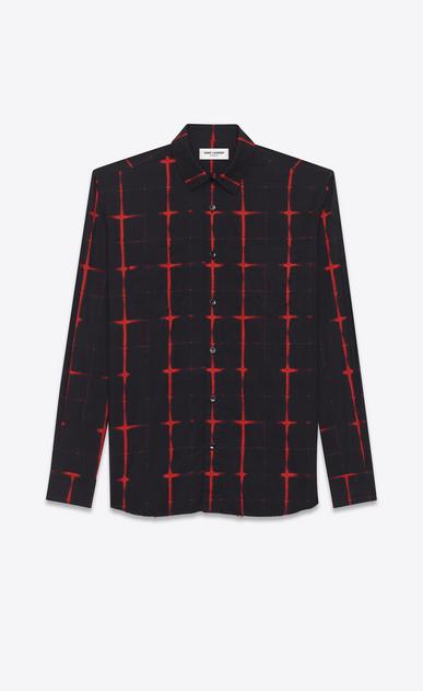 SAINT LAURENT Chemises Casual U chemise à col yves à carreaux tie and dye en voile de coton noire et rouge a_V4