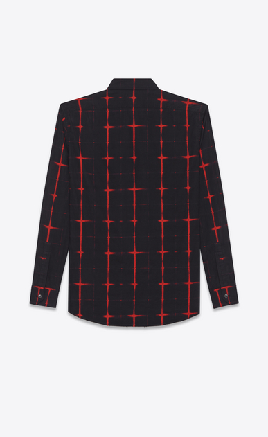 SAINT LAURENT Casual Shirts U signature yves collar shirt in black and red tie dye cotton voile plaid b_V4