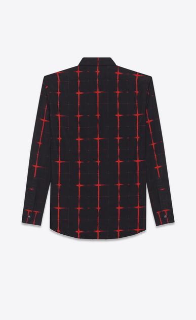 SAINT LAURENT Chemises Casual U chemise à col yves à carreaux tie and dye en voile de coton noire et rouge b_V4