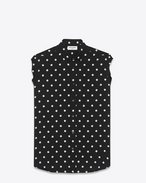 dylan collar sleeveless shirt in black and white polka dot printed viscose