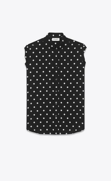 SAINT LAURENT Casual Shirts U dylan collar sleeveless shirt in black and white polka dot printed viscose a_V4