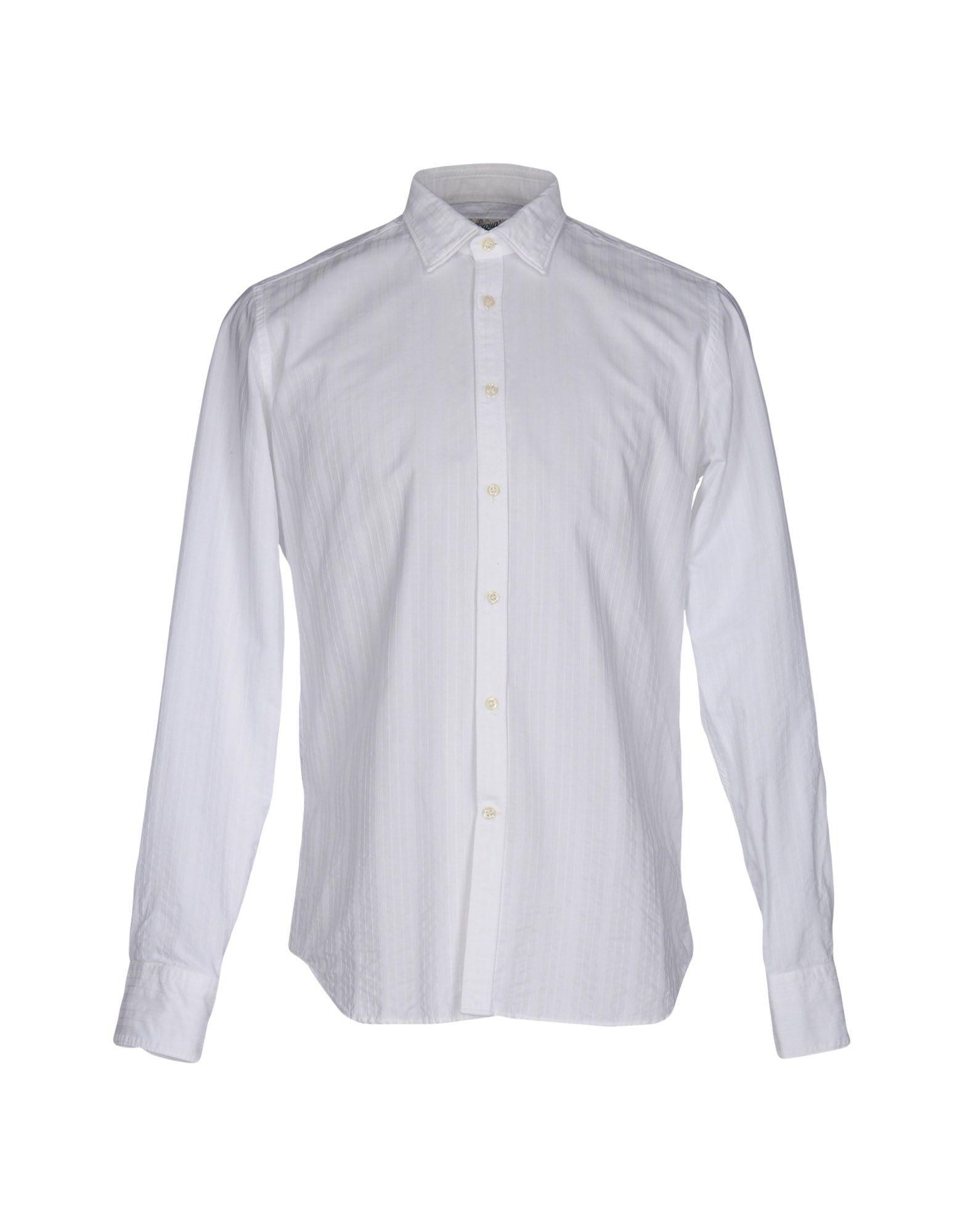 《送料無料》BEVILACQUA メンズ シャツ ホワイト M コットン 100%
