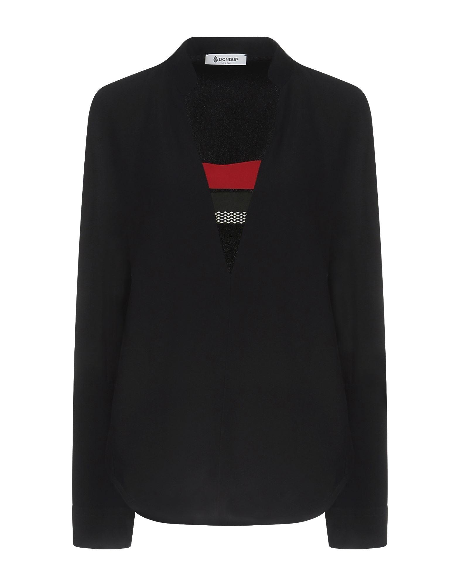 DONDUP Blouses. cady, no appliqués, solid color, v-neckline, long sleeves, no pockets. 50% Acetate, 50% Viscose