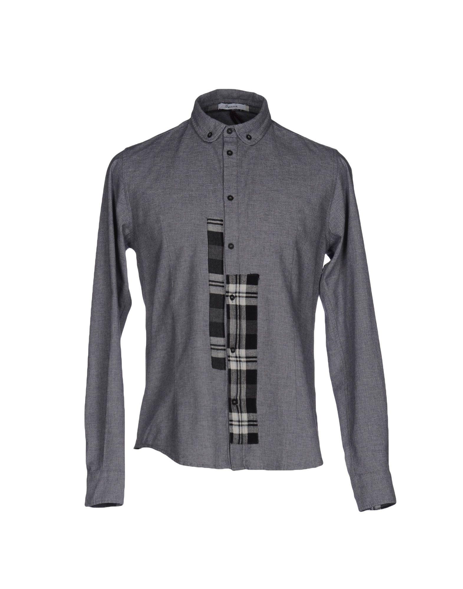 《セール開催中》BERNA メンズ シャツ グレー S コットン 100%