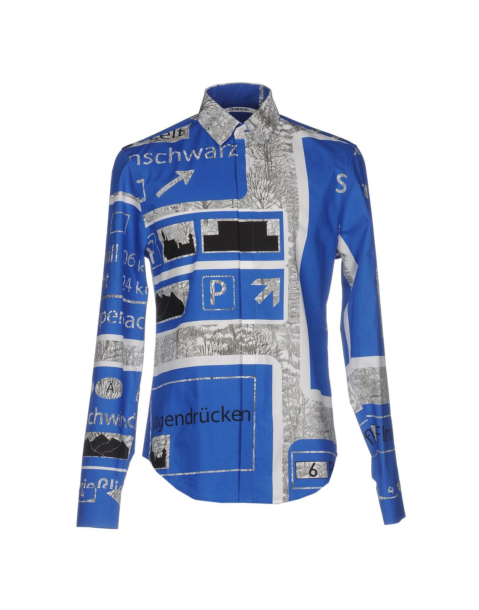 メンズ CHALAYAN シャツ ブルー