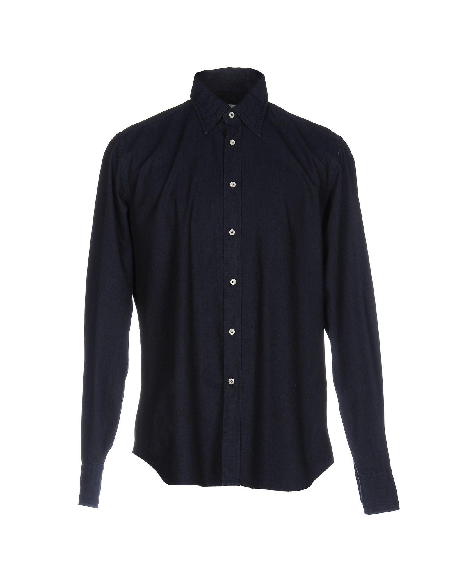 《送料無料》BEVILACQUA メンズ シャツ ダークブルー M コットン 100%