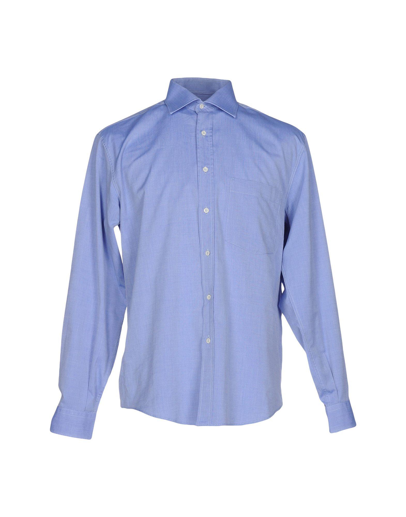 《期間限定セール中》P.M.&C. メンズ シャツ アジュールブルー 41 コットン 100%