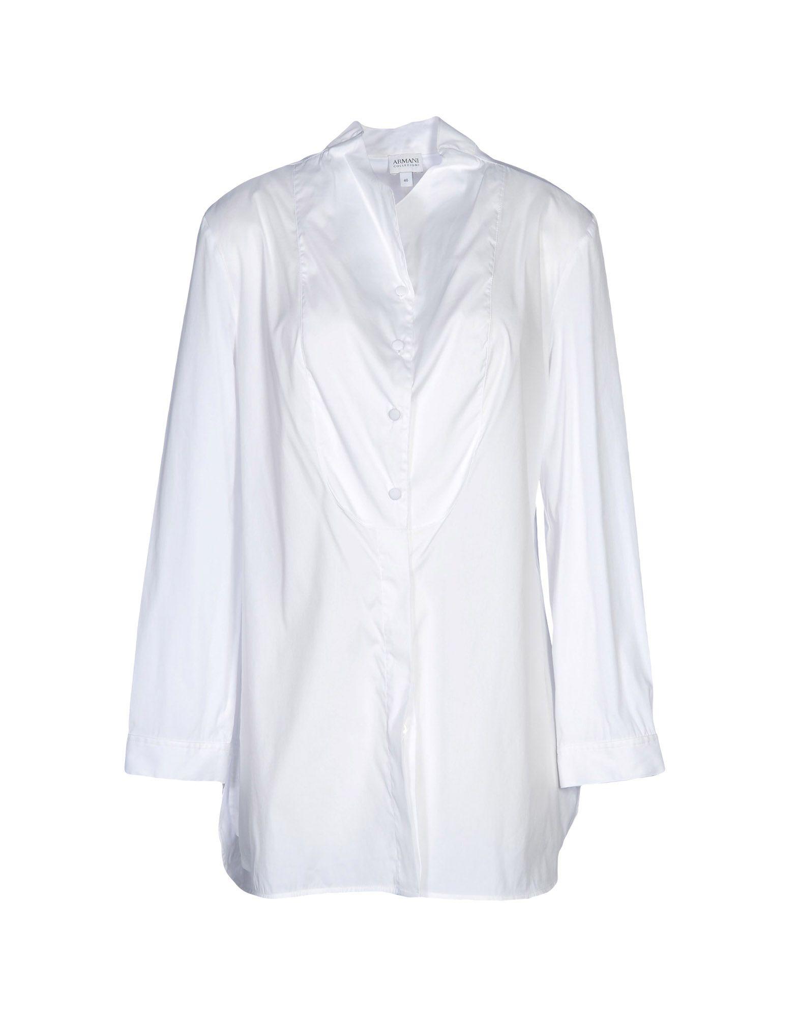 《セール開催中》ARMANI COLLEZIONI レディース シャツ ホワイト 38 コットン 78% / ナイロン 20% / ポリウレタン 2%