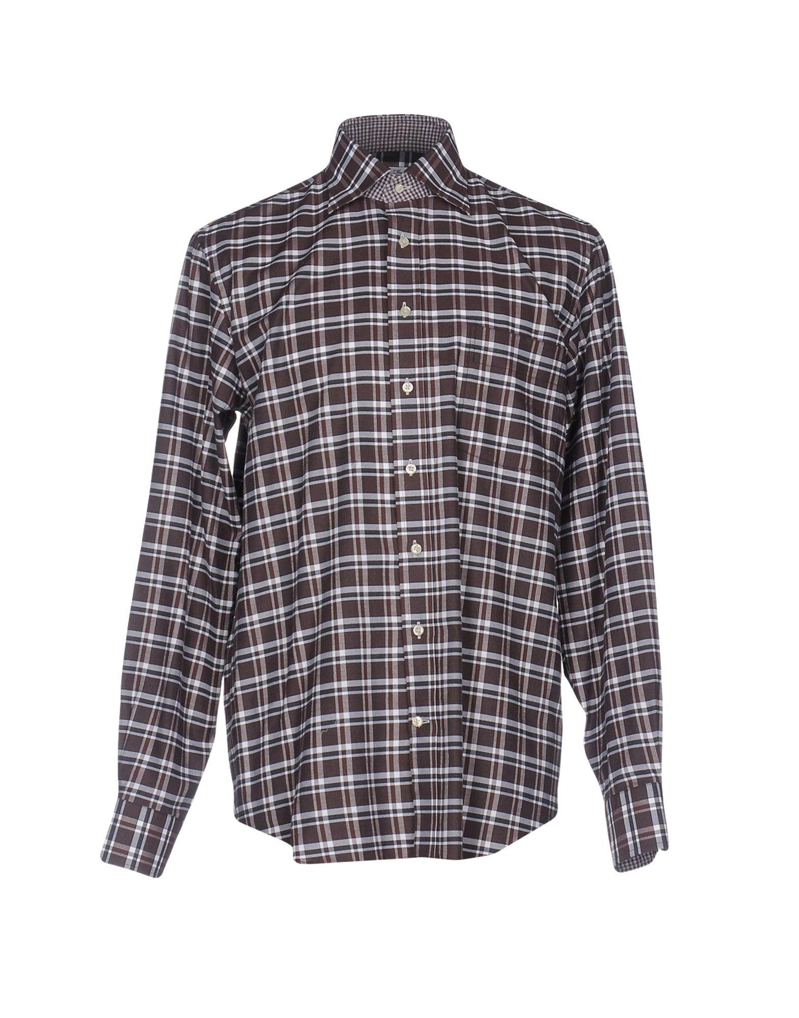 EMANUEL BERG Checked Shirt in Dark Brown