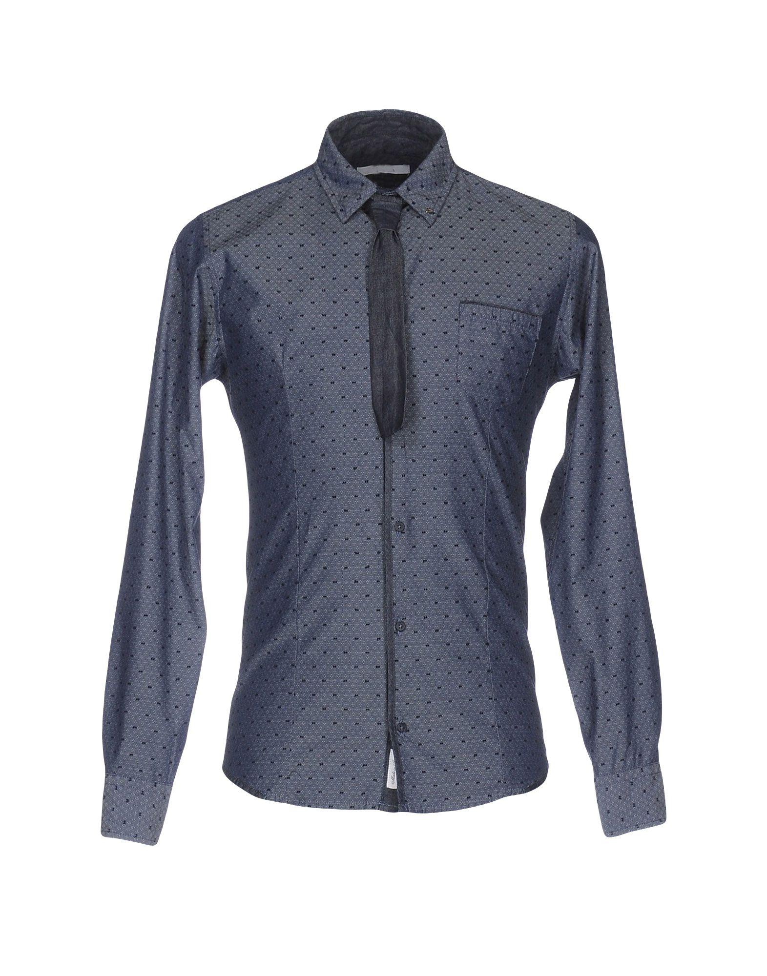 《期間限定セール中》BERNA メンズ シャツ ブルーグレー S コットン 100%