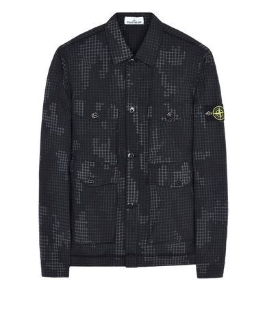 STONE ISLAND OVER SHIRT 112E3 FULL COMPACT RIP STOP SI CHECK GRID CAMO