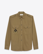 SAINT LAURENT Western Shirts D Oversized YSL Military Patch Shirt in Khaki Twill f