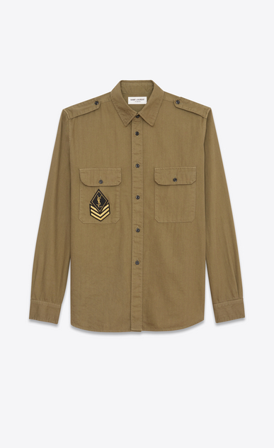 SAINT LAURENT Denim shirts Woman Oversized YSL Military Patch Shirt in Khaki Twill a_V4