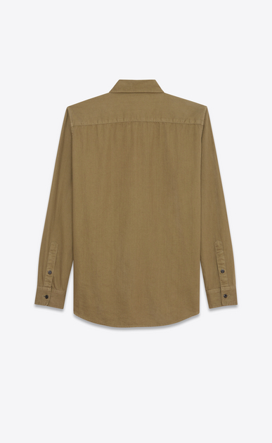 SAINT LAURENT Denim shirts Woman Oversized YSL Military Patch Shirt in Khaki Twill b_V4
