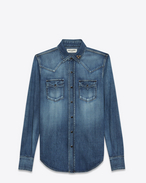 SAINT LAURENT Western Shirts D Western Heart Studded Shirt in Medium Blue Denim f