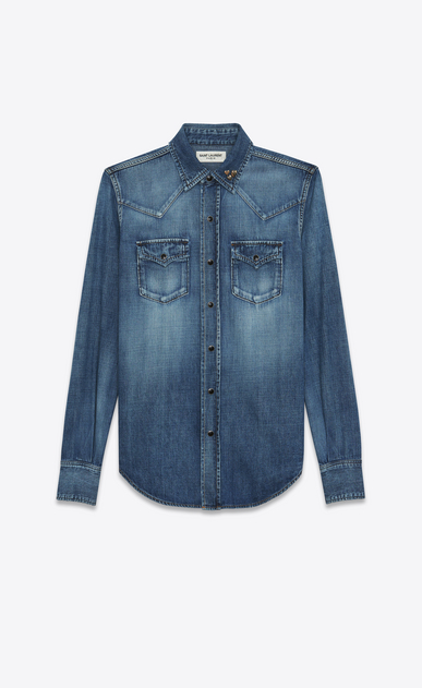 SAINT LAURENT Western Shirts D Western Heart Studded Shirt in Medium Blue Denim a_V4