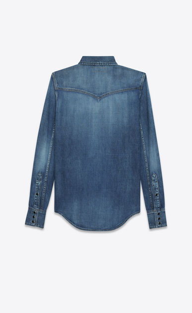 SAINT LAURENT Western Shirts D Western Heart Studded Shirt in Medium Blue Denim b_V4
