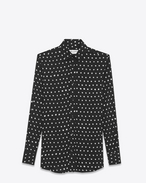 SAINT LAURENT Classic Shirts D PARIS Collar Shirt in Black and White Lipstick Printed Twill Viscose f