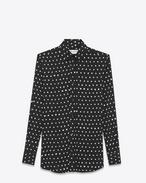 SAINT LAURENT Chemises classiques D Chemise à col PARIS en sergé de viscose à imprimé lipstick noir et blanc f