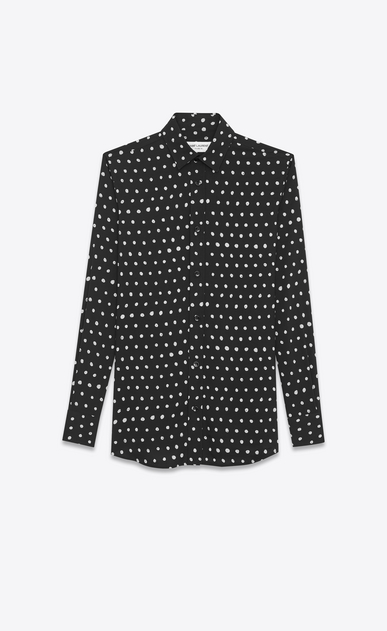 SAINT LAURENT Classic Shirts Woman PARIS Collar Shirt in Black and White Lipstick Printed Twill Viscose a_V4
